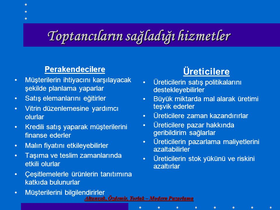 Altunışık, Özdemir, Torlak – Modern Pazarlama Toptancıların sağladığı hizmetler Perakendecilere Müşterilerin ihtiyacını karşılayacak şekilde planlama