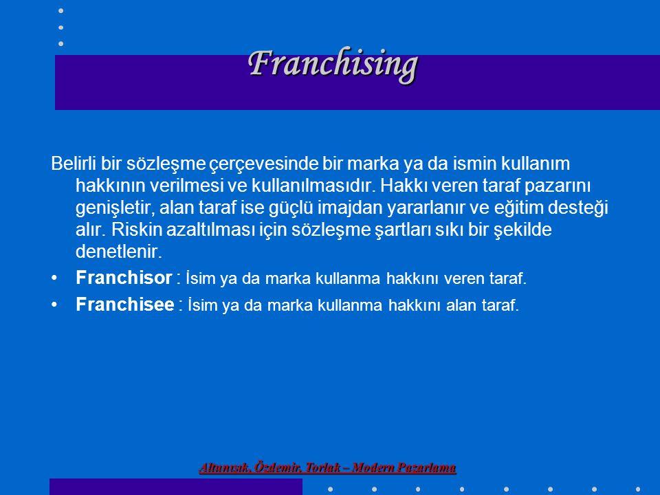 Altunışık, Özdemir, Torlak – Modern Pazarlama Franchising Belirli bir sözleşme çerçevesinde bir marka ya da ismin kullanım hakkının verilmesi ve kulla