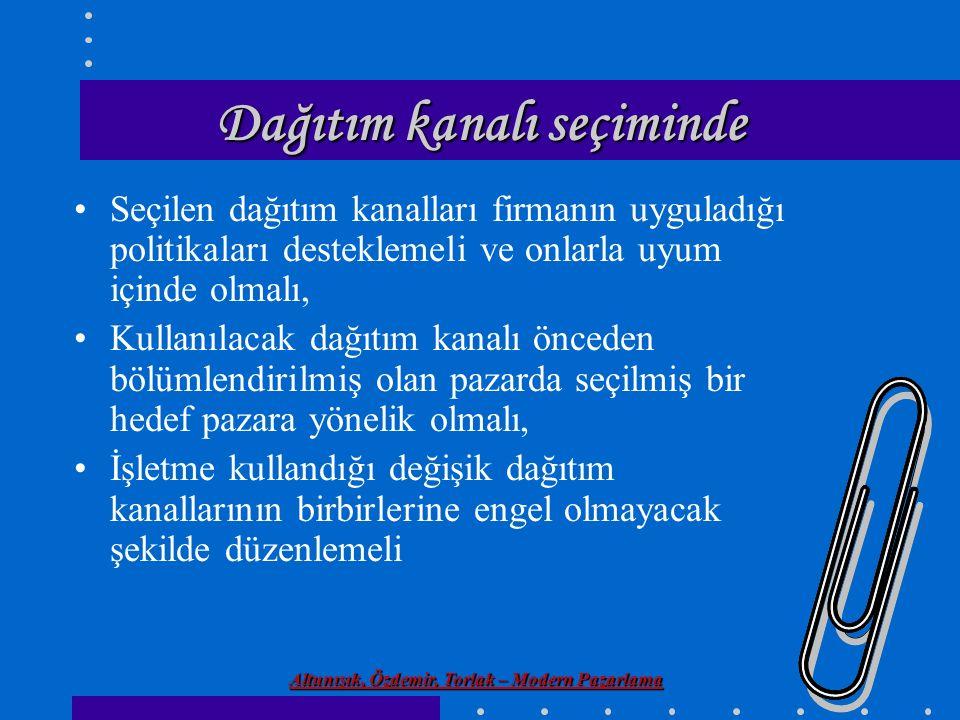 Altunışık, Özdemir, Torlak – Modern Pazarlama Dağıtım kanalı seçiminde Seçilen dağıtım kanalları firmanın uyguladığı politikaları desteklemeli ve onla