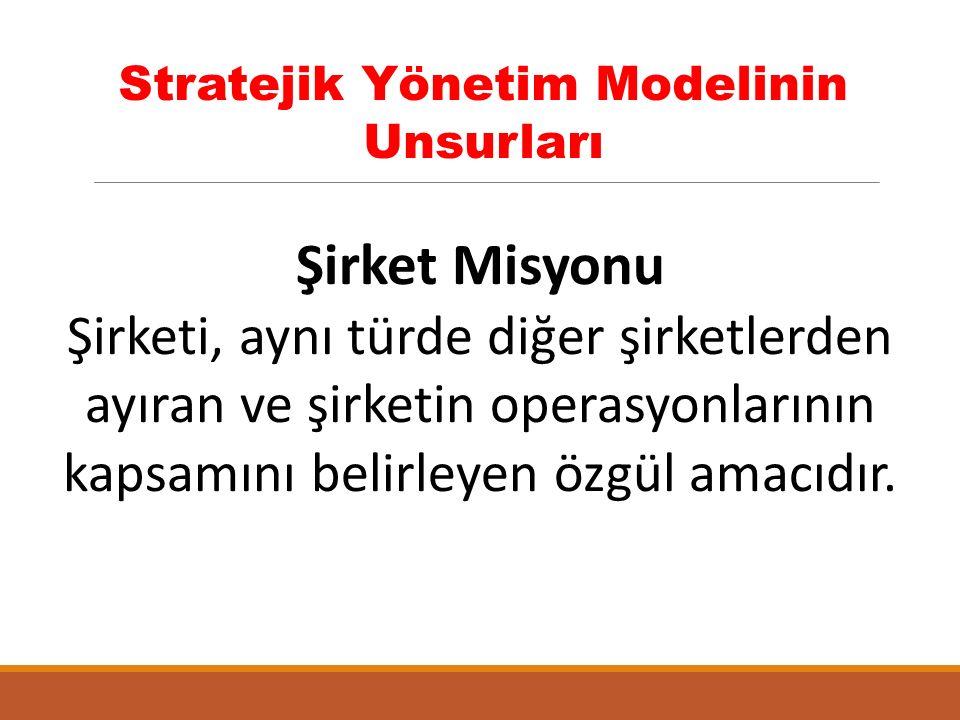 Stratejik Yönetim Modelinin Unsurları Şirket Misyonu Şirketi, aynı türde diğer şirketlerden ayıran ve şirketin operasyonlarının kapsamını belirleyen özgül amacıdır.