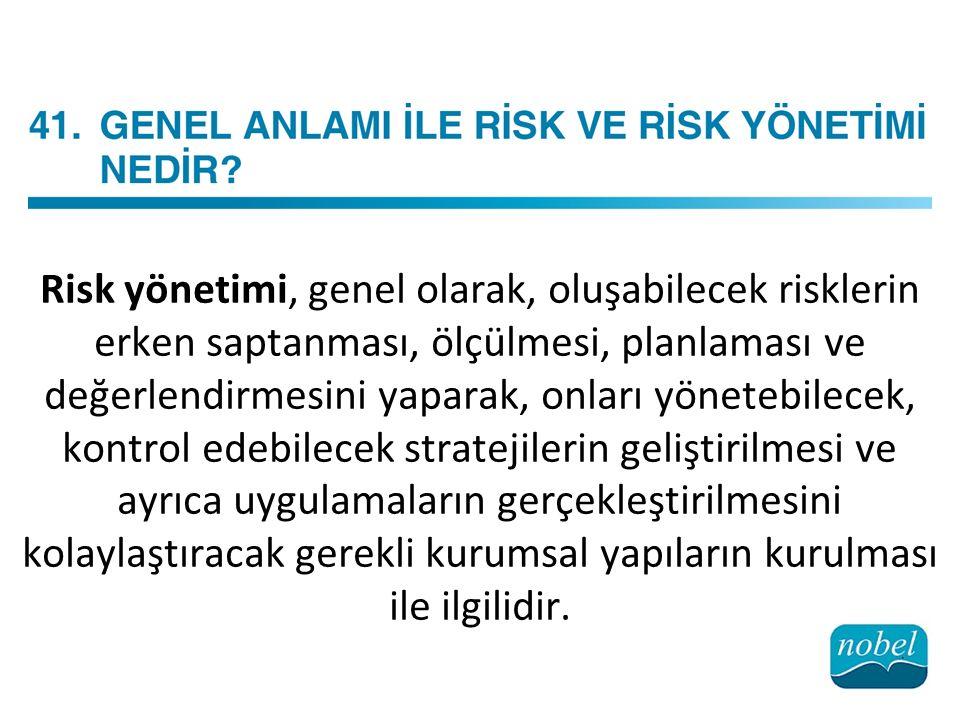 Risk yönetimi, genel olarak, oluşabilecek risklerin erken saptanması, ölçülmesi, planlaması ve değerlendirmesini yaparak, onları yönetebilecek, kontrol edebilecek stratejilerin geliştirilmesi ve ayrıca uygulamaların gerçekleştirilmesini kolaylaştıracak gerekli kurumsal yapıların kurulması ile ilgilidir.