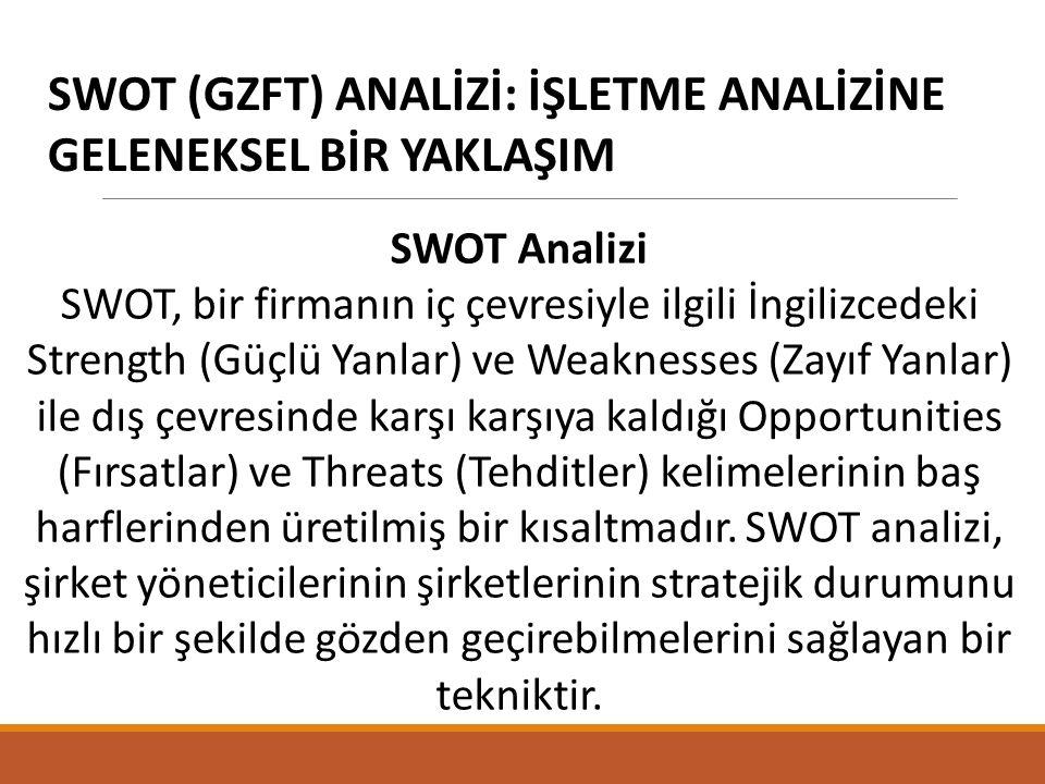 SWOT (GZFT) ANALİZİ: İŞLETME ANALİZİNE GELENEKSEL BİR YAKLAŞIM SWOT Analizi SWOT, bir firmanın iç çevresiyle ilgili İngilizcedeki Strength (Güçlü Yanlar) ve Weaknesses (Zayıf Yanlar) ile dış çevresinde karşı karşıya kaldığı Opportunities (Fırsatlar) ve Threats (Tehditler) kelimelerinin baş harflerinden üretilmiş bir kısaltmadır.
