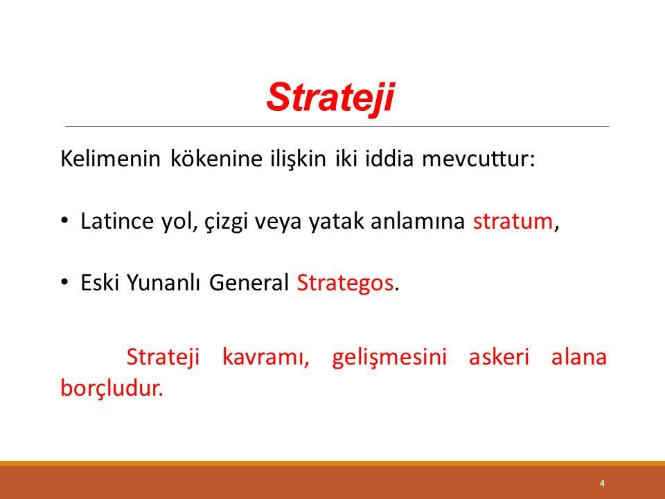 Strateji Kelimenin kökenine ilişkin iki iddia mevcuttur: Latince yol, çizgi veya yatak anlamına stratum, Eski Yunanlı General Strategos.