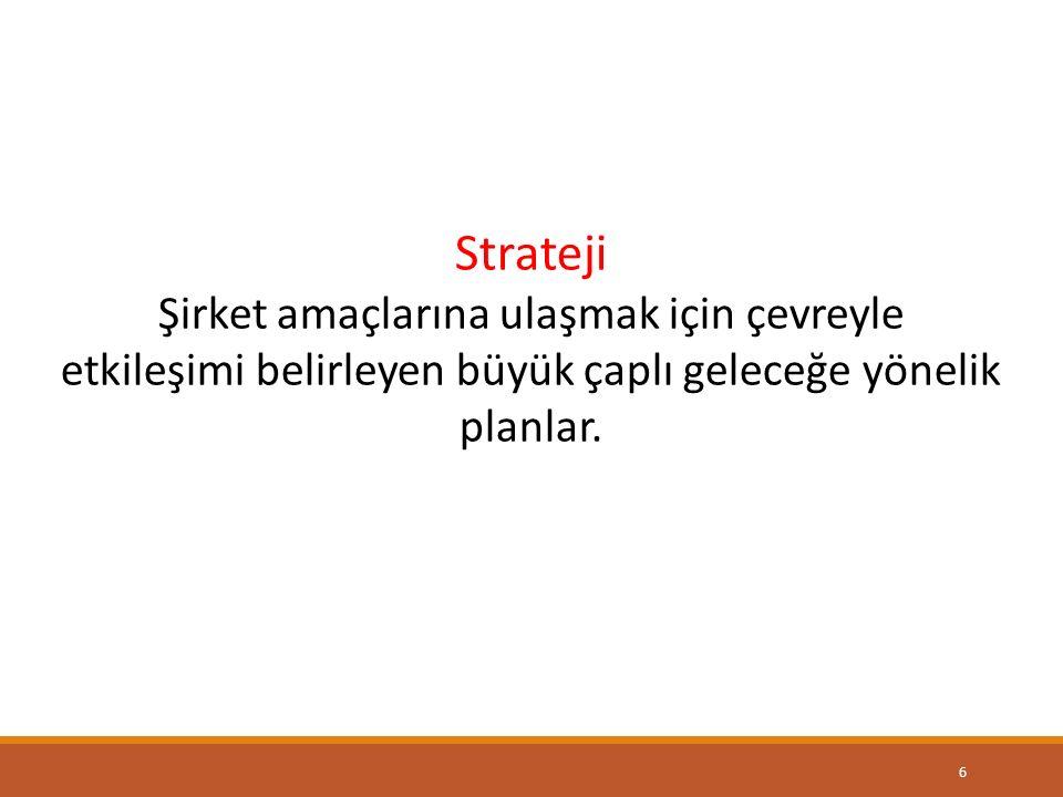 6 Strateji Şirket amaçlarına ulaşmak için çevreyle etkileşimi belirleyen büyük çaplı geleceğe yönelik planlar.