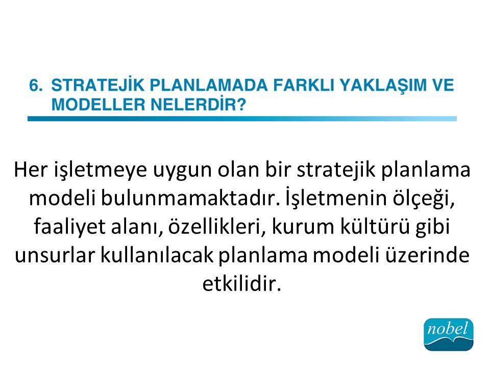 Her işletmeye uygun olan bir stratejik planlama modeli bulunmamaktadır.