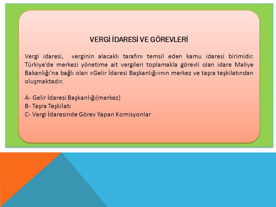 VERGİ İDARESİ VE GÖREVLERİ Vergi idaresi, verginin alacaklı tarafını temsil eden kamu idaresi birimidir. Türkiye'de merkezi yönetime ait vergileri top