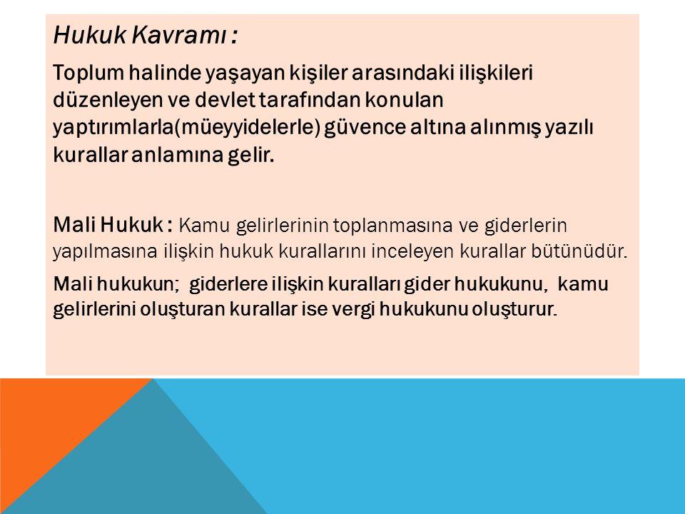 Hukuk Kavramı : Toplum halinde yaşayan kişiler arasındaki ilişkileri düzenleyen ve devlet tarafından konulan yaptırımlarla(müeyyidelerle) güvence altına alınmış yazılı kurallar anlamına gelir.