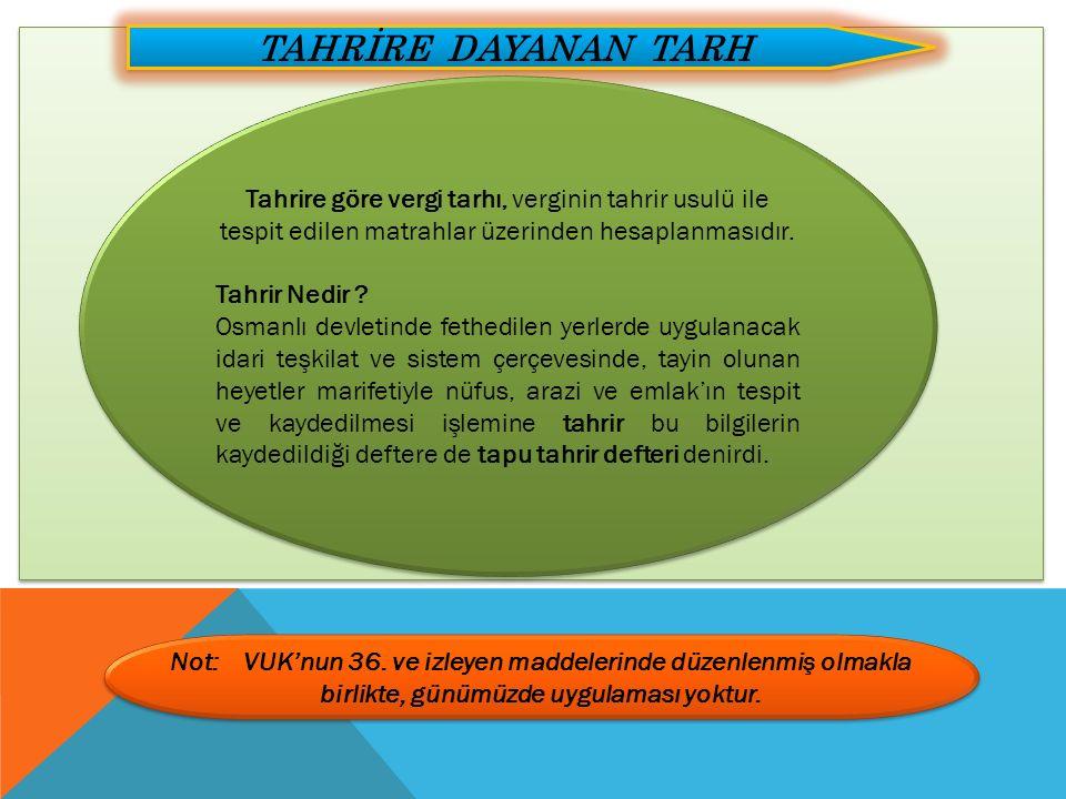TAHRİRE DAYANAN TARH Tahrire göre vergi tarhı, verginin tahrir usulü ile tespit edilen matrahlar üzerinden hesaplanmasıdır. Tahrir Nedir ? Osmanlı dev