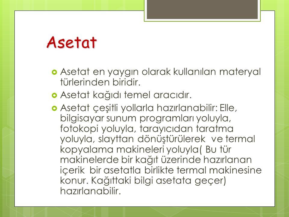 Asetat  Asetat en yaygın olarak kullanılan materyal türlerinden biridir.