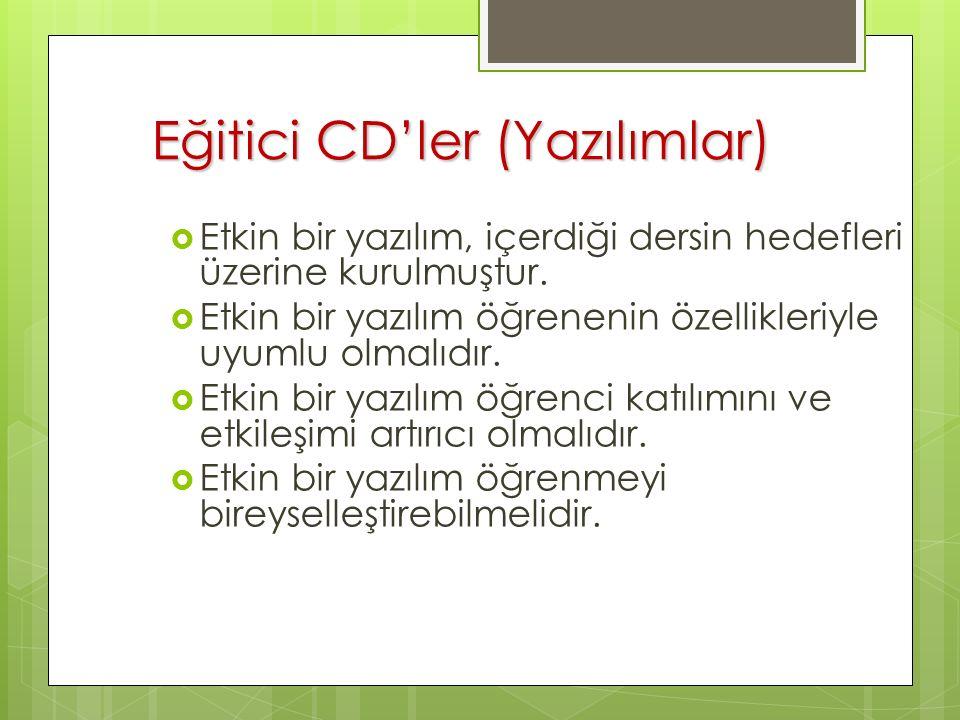 Eğitici CD'ler (Yazılımlar)  Etkin bir yazılım, içerdiği dersin hedefleri üzerine kurulmuştur.