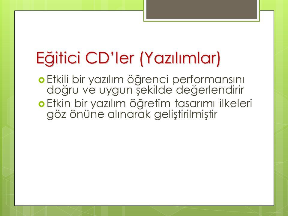 Eğitici CD'ler (Yazılımlar)  Etkili bir yazılım öğrenci performansını doğru ve uygun şekilde değerlendirir  Etkin bir yazılım öğretim tasarımı ilkeleri göz önüne alınarak geliştirilmiştir