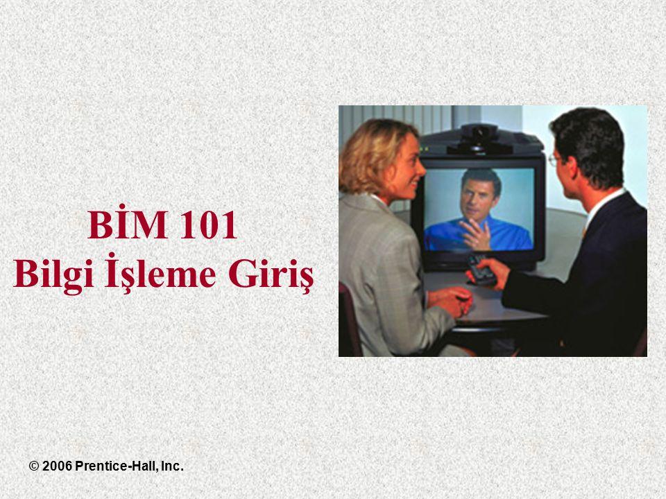 BİM 101 Bilgi İşleme Giriş © 2006 Prentice-Hall, Inc.