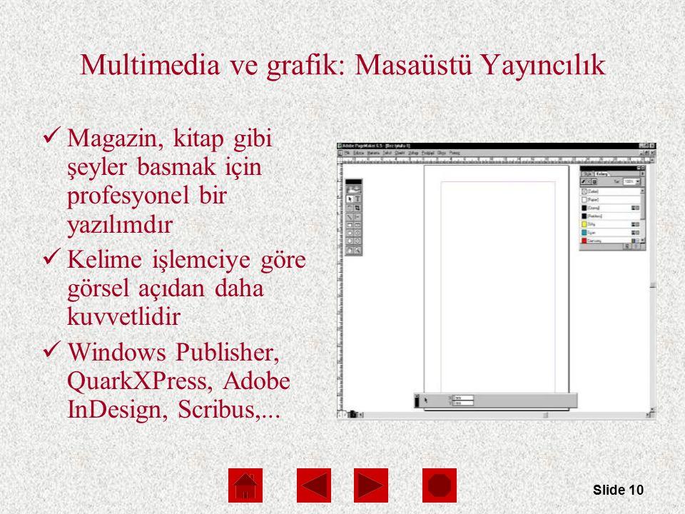 Slide 10 Multimedia ve grafik: Masaüstü Yayıncılık Magazin, kitap gibi şeyler basmak için profesyonel bir yazılımdır Kelime işlemciye göre görsel açıdan daha kuvvetlidir Windows Publisher, QuarkXPress, Adobe InDesign, Scribus,...