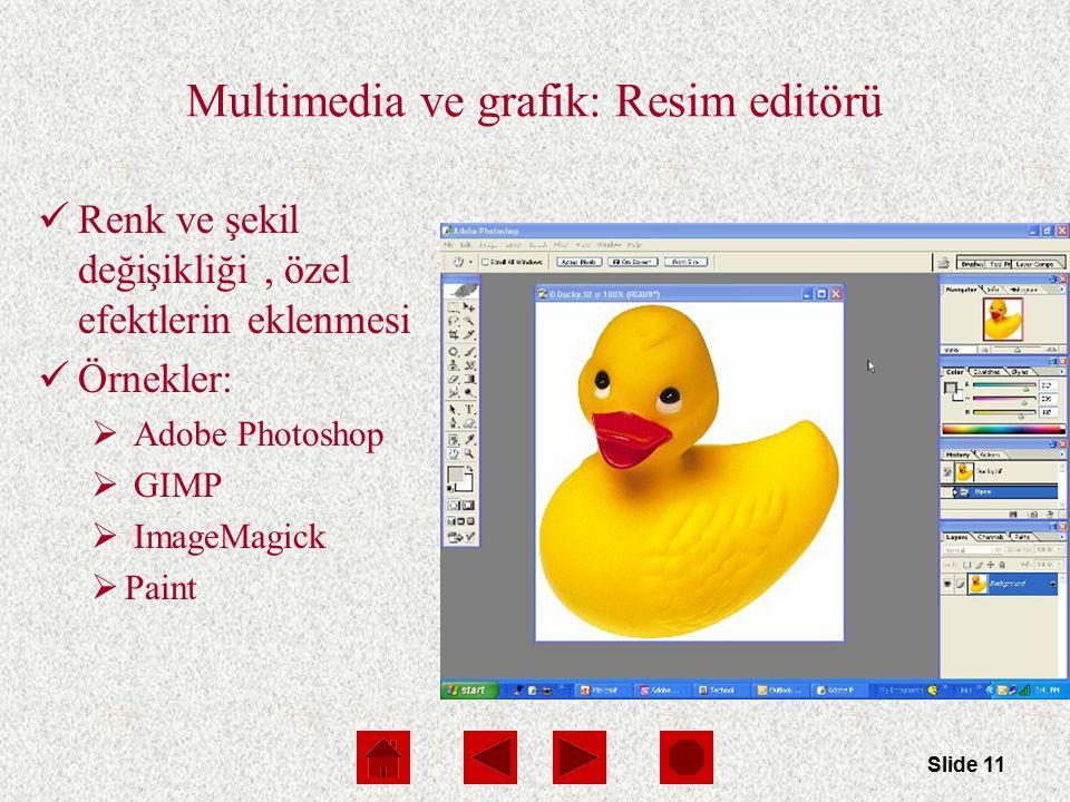Slide 11 Multimedia ve grafik: Resim editörü Renk ve şekil değişikliği, özel efektlerin eklenmesi Örnekler:  Adobe Photoshop  GIMP  ImageMagick  Paint