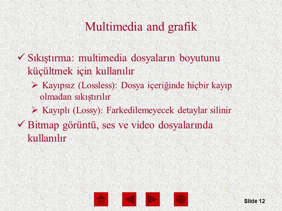 Slide 12 Multimedia and grafik Sıkıştırma: multimedia dosyaların boyutunu küçültmek için kullanılır  Kayıpsız (Lossless): Dosya içeriğinde hiçbir kayıp olmadan sıkıştırılır  Kayıplı (Lossy): Farkedilemeyecek detaylar silinir Bitmap görüntü, ses ve video dosyalarında kullanılır