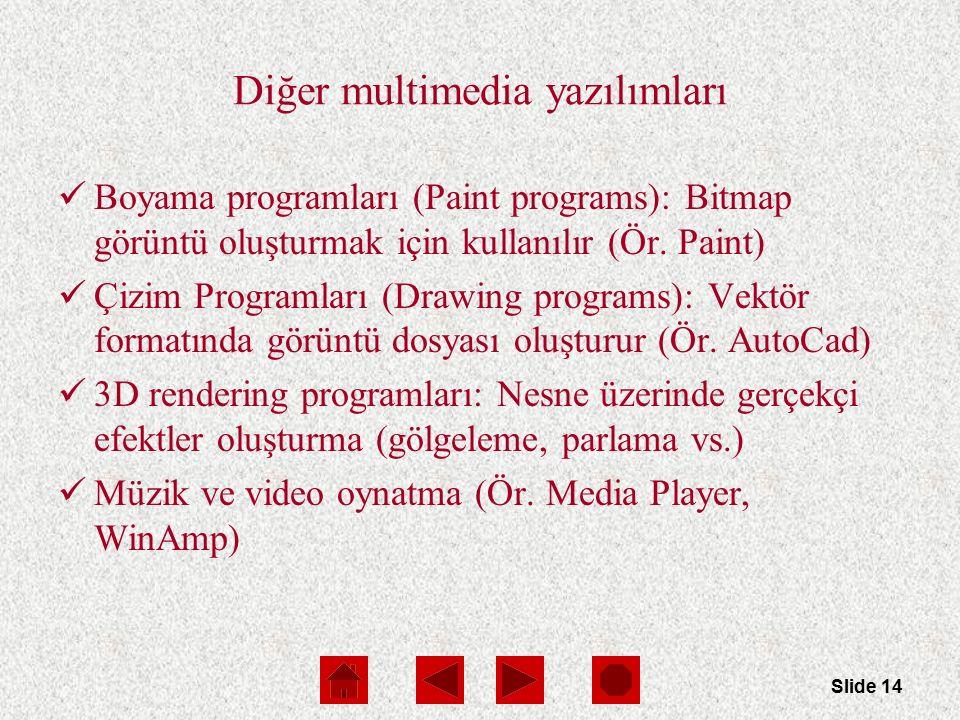 Slide 14 Diğer multimedia yazılımları Boyama programları (Paint programs): Bitmap görüntü oluşturmak için kullanılır (Ör.