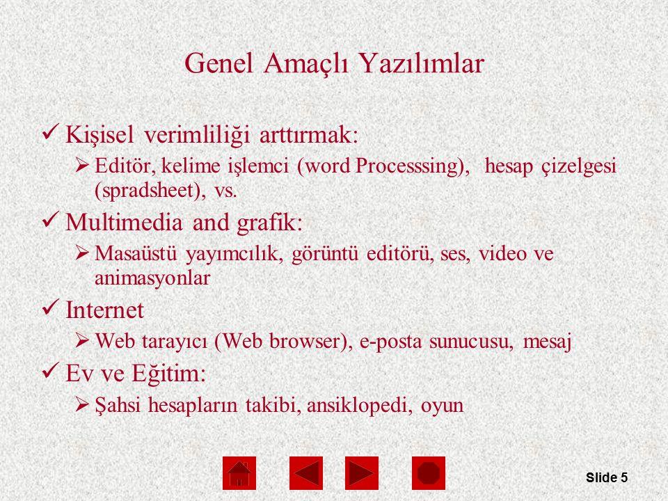 Slide 5 Genel Amaçlı Yazılımlar Kişisel verimliliği arttırmak:  Editör, kelime işlemci (word Processsing), hesap çizelgesi (spradsheet), vs.