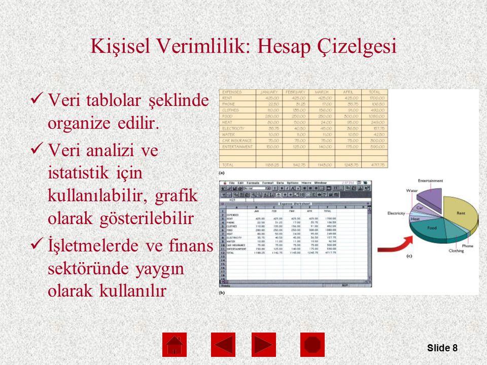 Slide 8 Kişisel Verimlilik: Hesap Çizelgesi Veri tablolar şeklinde organize edilir.