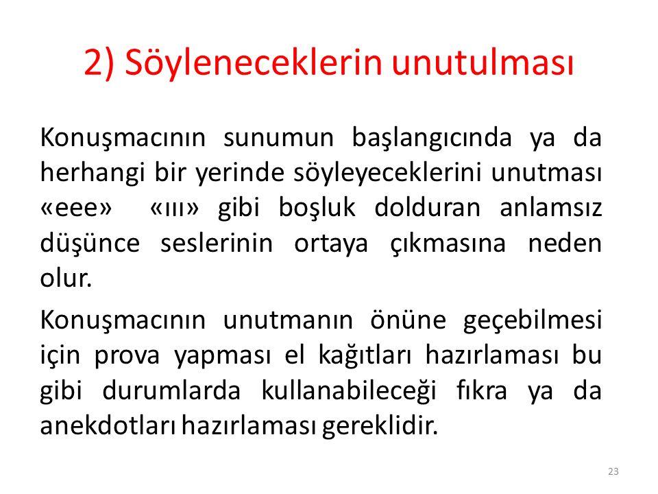 23 2) Söyleneceklerin unutulması Konuşmacının sunumun başlangıcında ya da herhangi bir yerinde söyleyeceklerini unutması «eee» «ııı» gibi boşluk doldu