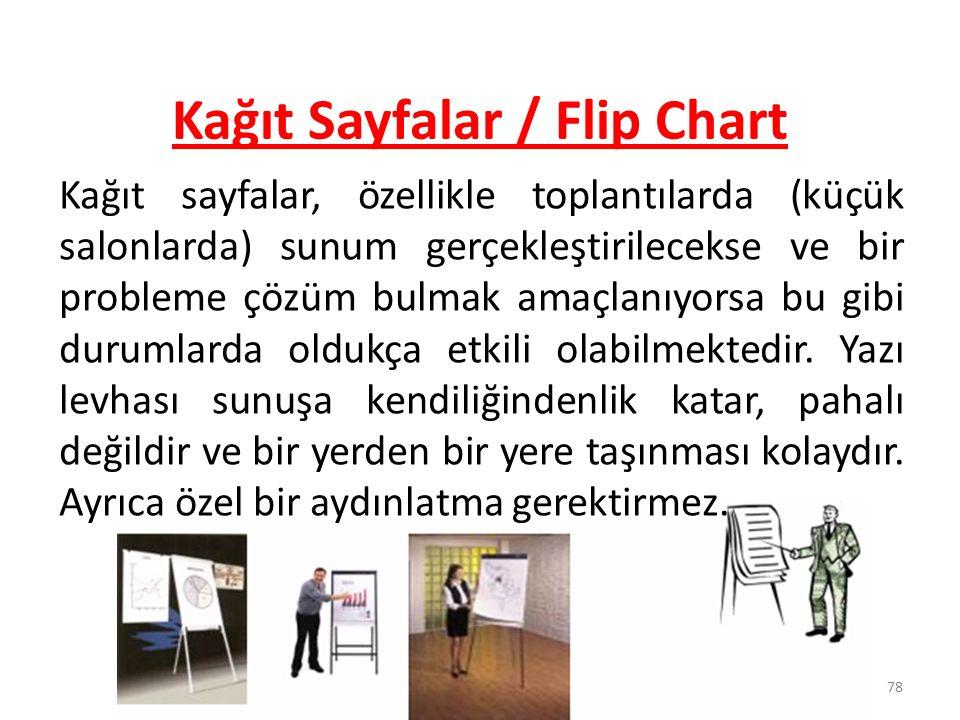 78 Kağıt Sayfalar / Flip Chart Kağıt sayfalar, özellikle toplantılarda (küçük salonlarda) sunum gerçekleştirilecekse ve bir probleme çözüm bulmak amaç