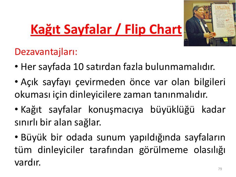 79 Kağıt Sayfalar / Flip Chart Dezavantajları: Her sayfada 10 satırdan fazla bulunmamalıdır. Açık sayfayı çevirmeden önce var olan bilgileri okuması i