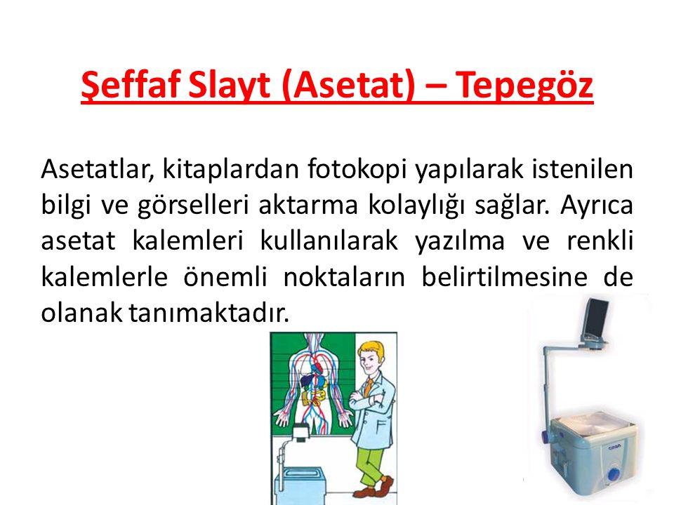 80 Şeffaf Slayt (Asetat) – Tepegöz Asetatlar, kitaplardan fotokopi yapılarak istenilen bilgi ve görselleri aktarma kolaylığı sağlar. Ayrıca asetat kal
