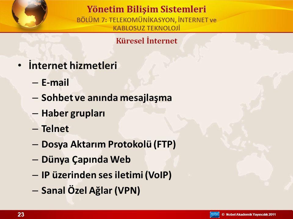 © Nobel Akademik Yayıncılık 2011 Yönetim Bilişim Sistemleri İnternet hizmetleri – E-mail – Sohbet ve anında mesajlaşma – Haber grupları – Telnet – Dos