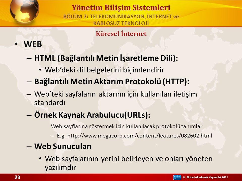 © Nobel Akademik Yayıncılık 2011 Yönetim Bilişim Sistemleri WEB – HTML (Bağlantılı Metin İşaretleme Dili): Web'deki dil belgelerini biçimlendirir – Ba