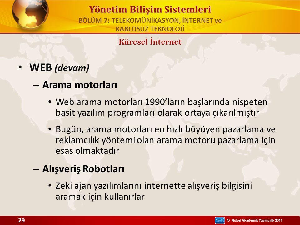 © Nobel Akademik Yayıncılık 2011 Yönetim Bilişim Sistemleri WEB (devam) – Arama motorları Web arama motorları 1990'ların başlarında nispeten basit yaz