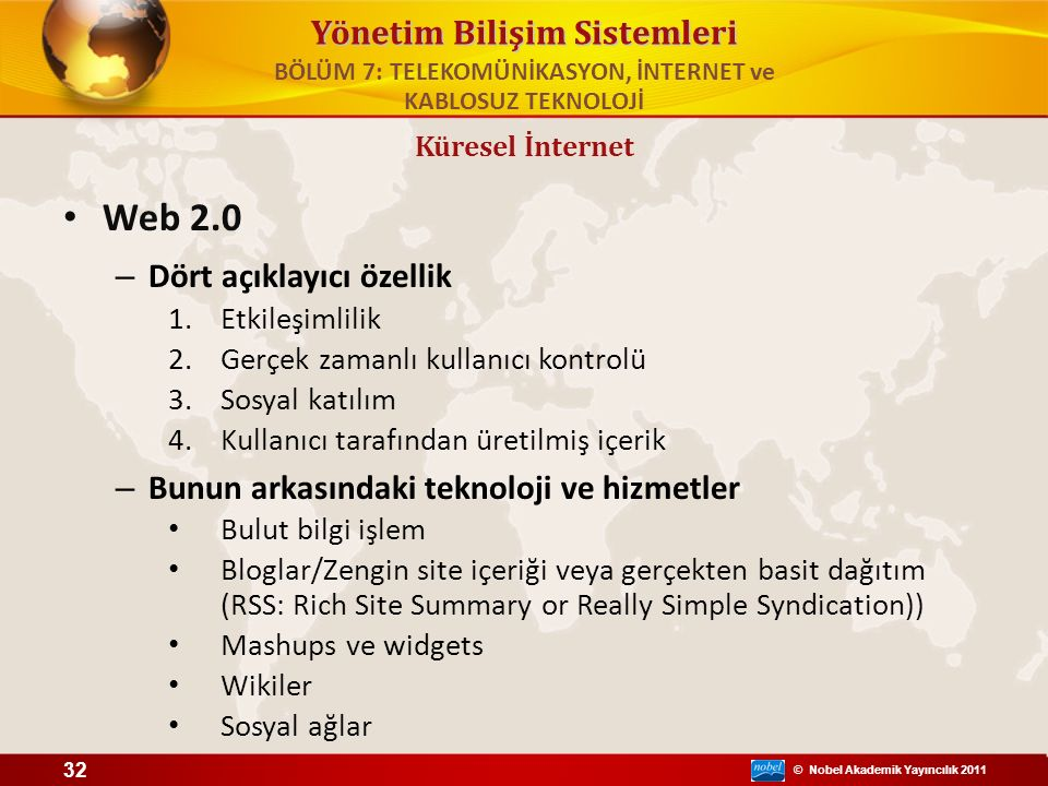 © Nobel Akademik Yayıncılık 2011 Yönetim Bilişim Sistemleri Web 2.0 – Dört açıklayıcı özellik 1.Etkileşimlilik 2.Gerçek zamanlı kullanıcı kontrolü 3.S