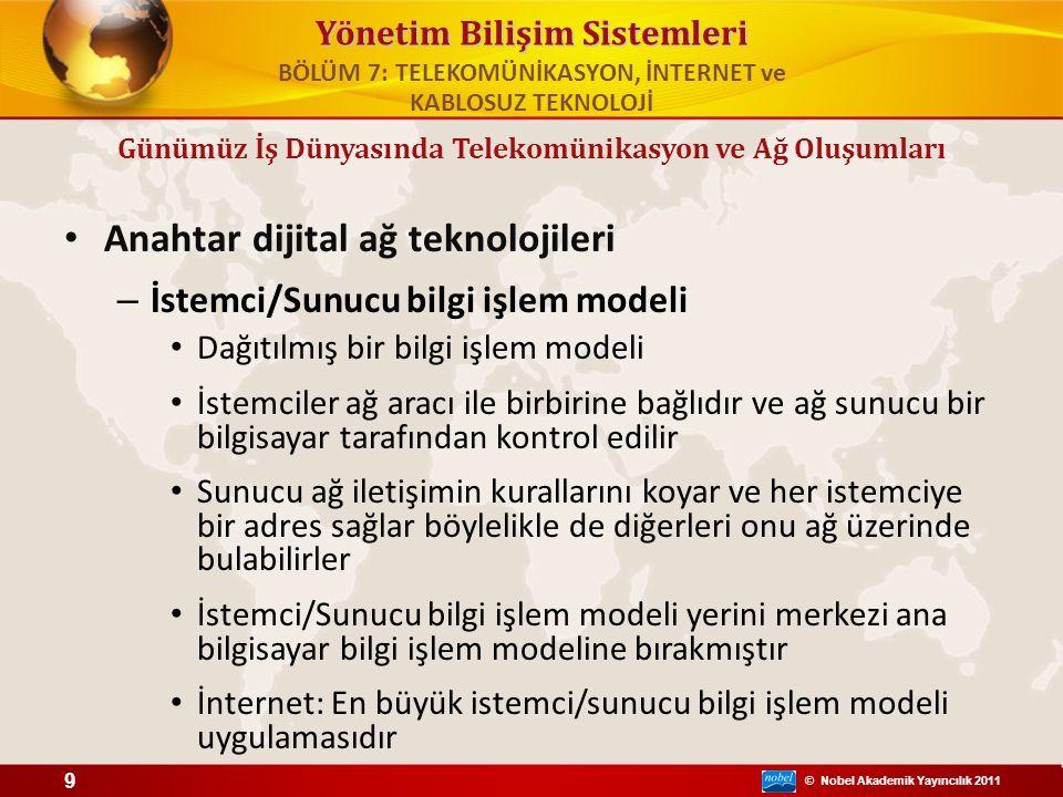 © Nobel Akademik Yayıncılık 2011 Yönetim Bilişim Sistemleri Anahtar dijital ağ teknolojileri – İstemci/Sunucu bilgi işlem modeli Dağıtılmış bir bilgi