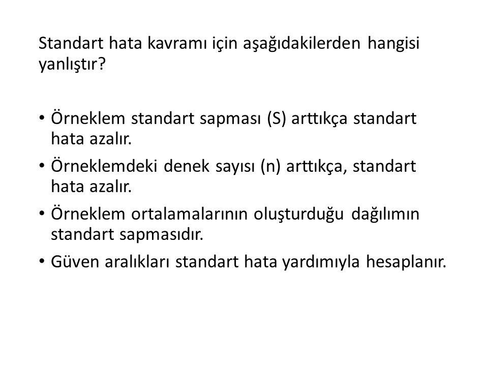 Standart hata kavramı için aşağıdakilerden hangisi yanlıştır? Örneklem standart sapması (S) arttıkça standart hata azalır. Örneklemdeki denek sayısı (