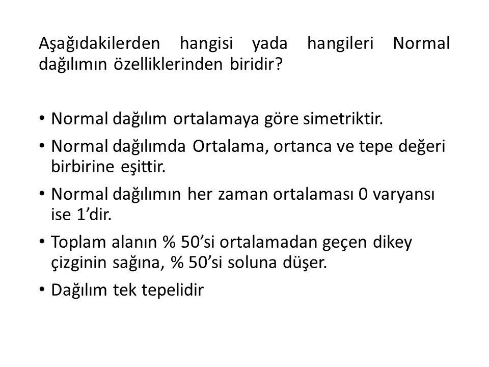 Aşağıdakilerden hangisi yada hangileri Normal dağılımın özelliklerinden biridir? Normal dağılım ortalamaya göre simetriktir. Normal dağılımda Ortalama