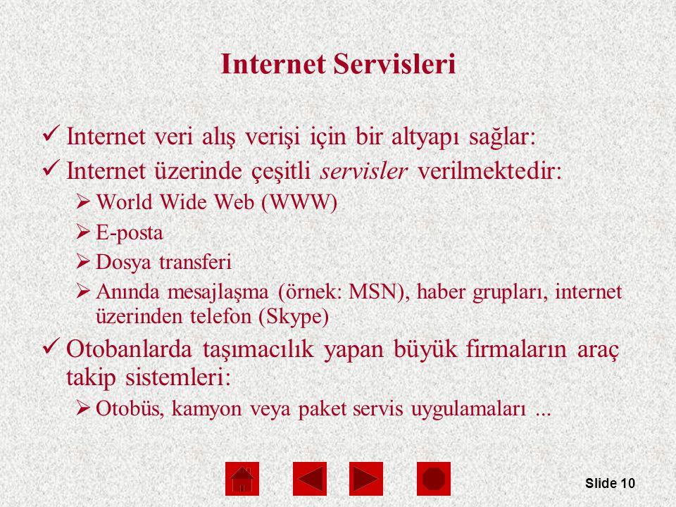 Slide 10 Internet Servisleri Internet veri alış verişi için bir altyapı sağlar: Internet üzerinde çeşitli servisler verilmektedir:  World Wide Web (WWW)  E-posta  Dosya transferi  Anında mesajlaşma (örnek: MSN), haber grupları, internet üzerinden telefon (Skype) Otobanlarda taşımacılık yapan büyük firmaların araç takip sistemleri:  Otobüs, kamyon veya paket servis uygulamaları...