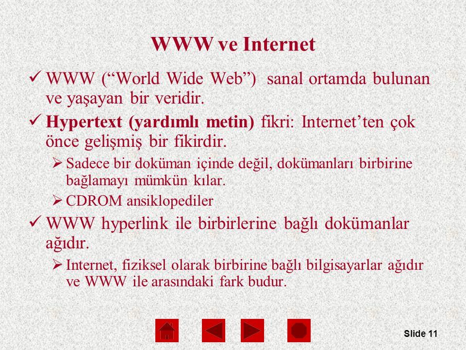 Slide 11 WWW ve Internet WWW ( World Wide Web ) sanal ortamda bulunan ve yaşayan bir veridir.