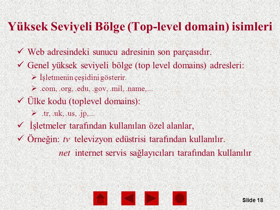 Slide 18 Yüksek Seviyeli Bölge (Top-level domain) isimleri Web adresindeki sunucu adresinin son parçasıdır.