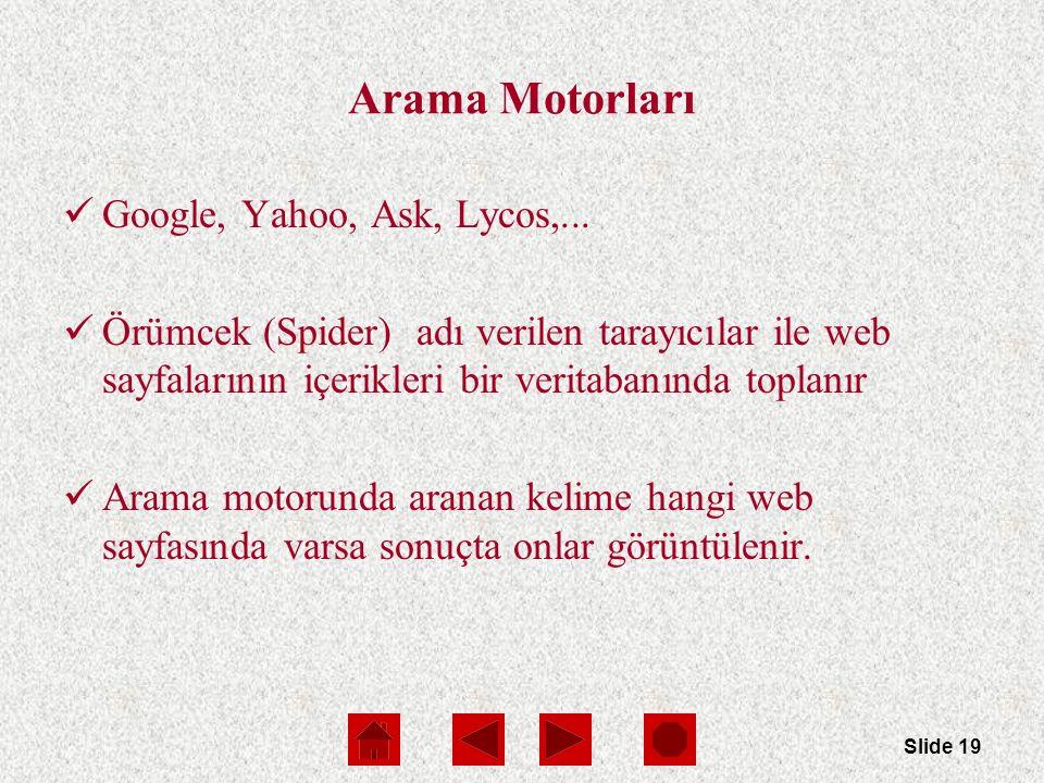 Slide 19 Arama Motorları Google, Yahoo, Ask, Lycos,...