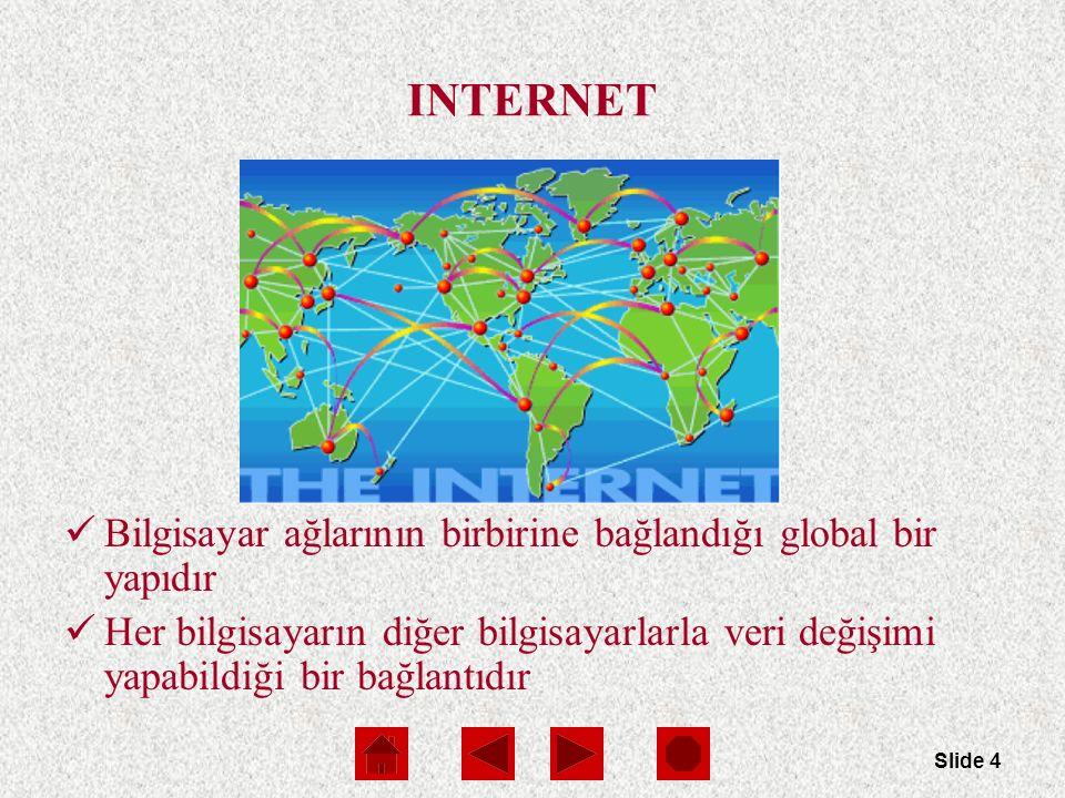 Slide 4 INTERNET Bilgisayar ağlarının birbirine bağlandığı global bir yapıdır Her bilgisayarın diğer bilgisayarlarla veri değişimi yapabildiği bir bağlantıdır