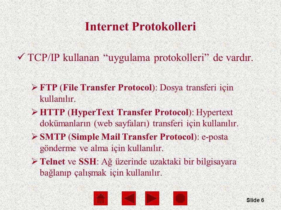 Slide 6 Internet Protokolleri TCP/IP kullanan uygulama protokolleri de vardır.