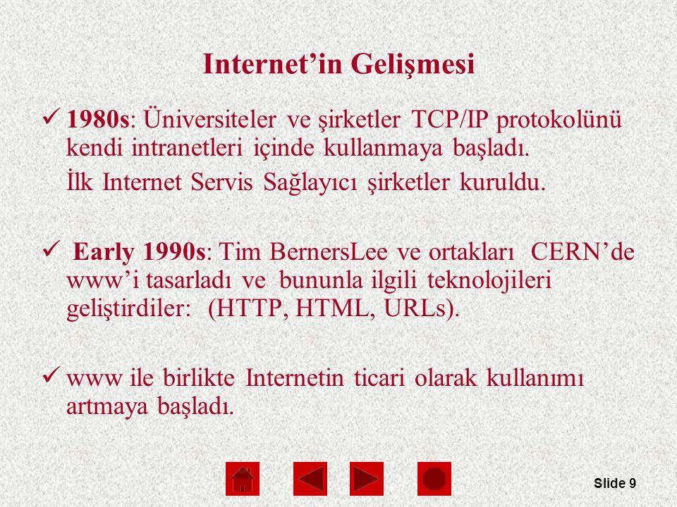 Slide 9 Internet'in Gelişmesi 1980s: Üniversiteler ve şirketler TCP/IP protokolünü kendi intranetleri içinde kullanmaya başladı.