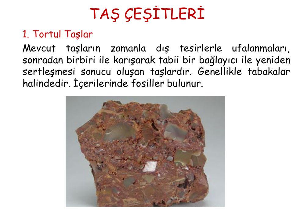 TAŞ ÇEŞİTLERİ 1. Tortul Taşlar Mevcut taşların zamanla dış tesirlerle ufalanmaları, sonradan birbiri ile karışarak tabii bir bağlayıcı ile yeniden ser