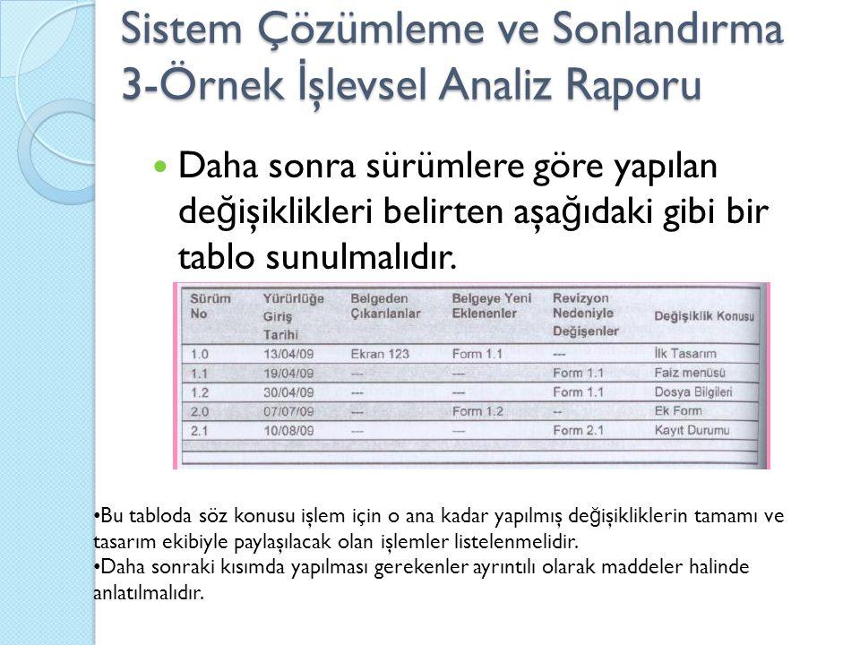 Sistem Çözümleme ve Sonlandırma 3-Örnek İ şlevsel Analiz Raporu Daha sonra sürümlere göre yapılan de ğ işiklikleri belirten aşa ğ ıdaki gibi bir tablo