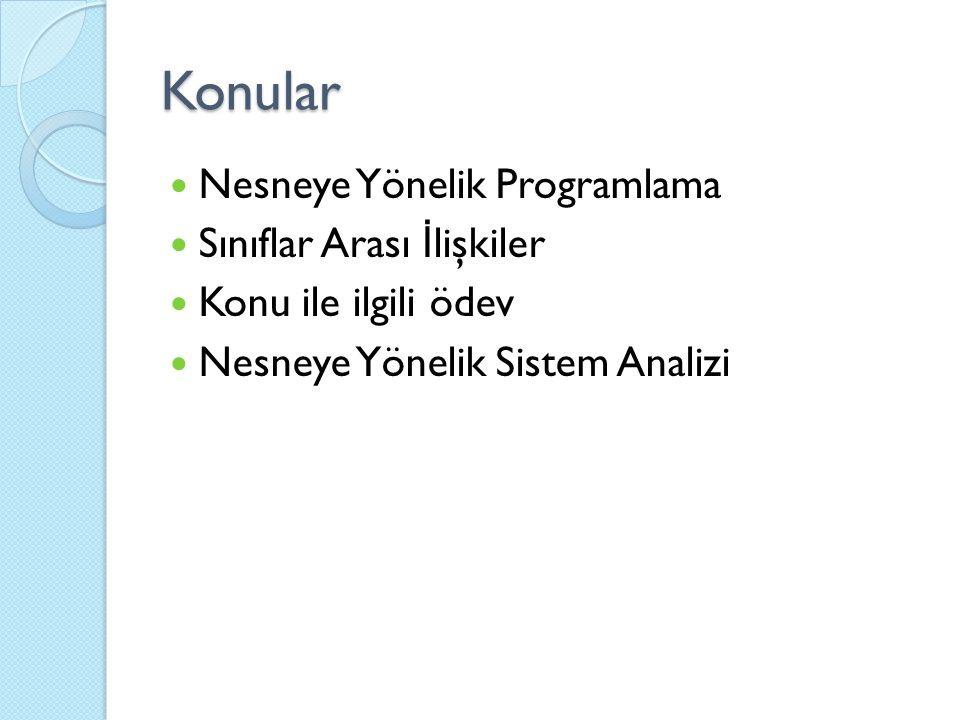 Konular Nesneye Yönelik Programlama Sınıflar Arası İ lişkiler Konu ile ilgili ödev Nesneye Yönelik Sistem Analizi