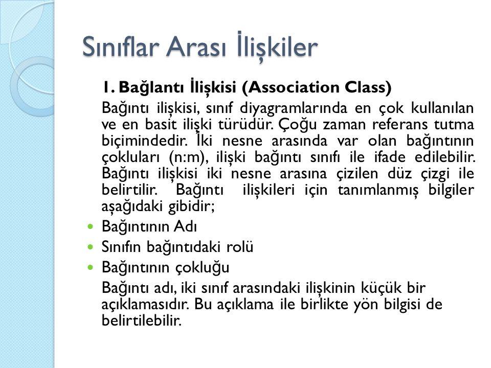 Sınıflar Arası İ lişkiler 1. Ba ğ lantı İ lişkisi (Association Class) Ba ğ ıntı ilişkisi, sınıf diyagramlarında en çok kullanılan ve en basit ilişki t