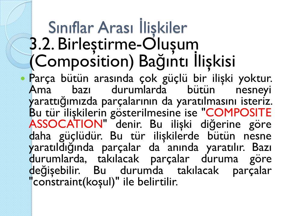 Sınıflar Arası İ lişkiler 3.2. Birleştirme-Oluşum (Composition) Ba ğ ıntı İ lişkisi Parça bütün arasında çok güçlü bir ilişki yoktur. Ama bazı durumla