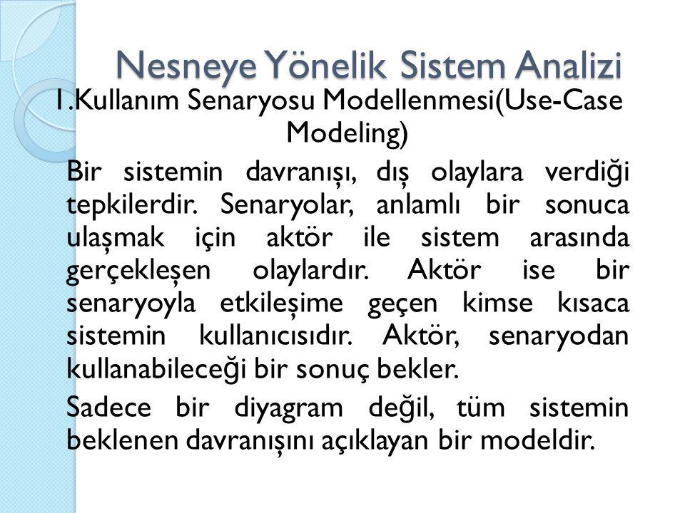Nesneye Yönelik Sistem Analizi 1.Kullanım Senaryosu Modellenmesi(Use-Case Modeling) Bir sistemin davranışı, dış olaylara verdi ğ i tepkilerdir. Senary