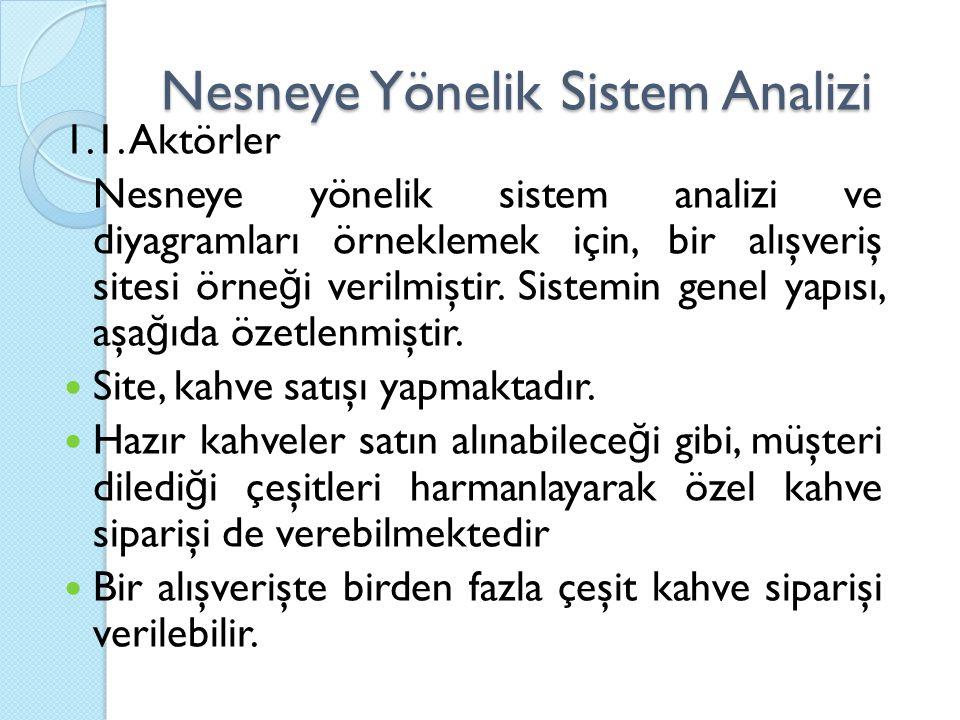 Nesneye Yönelik Sistem Analizi 1.1. Aktörler Nesneye yönelik sistem analizi ve diyagramları örneklemek için, bir alışveriş sitesi örne ğ i verilmiştir