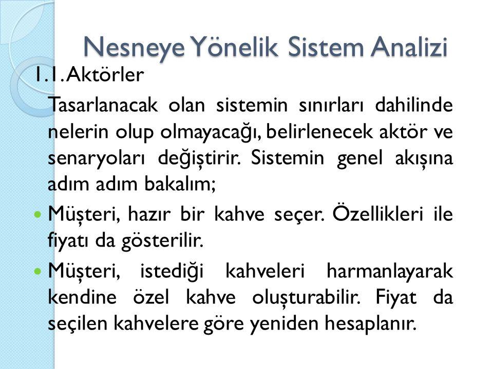 Nesneye Yönelik Sistem Analizi 1.1. Aktörler Tasarlanacak olan sistemin sınırları dahilinde nelerin olup olmayaca ğ ı, belirlenecek aktör ve senaryola