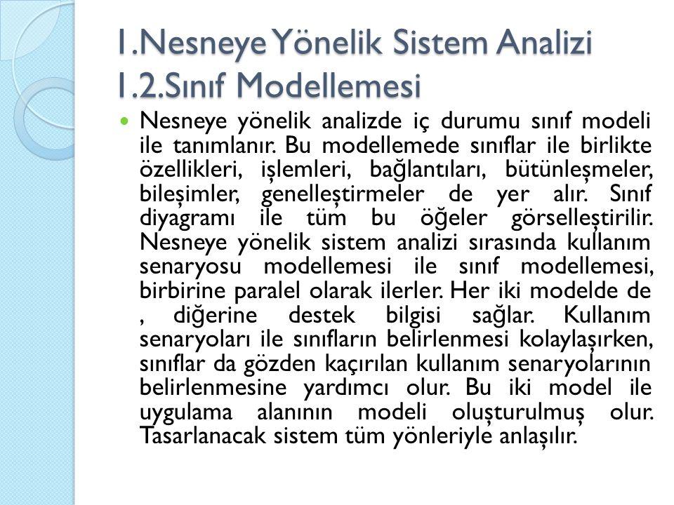1.Nesneye Yönelik Sistem Analizi 1.2.Sınıf Modellemesi Nesneye yönelik analizde iç durumu sınıf modeli ile tanımlanır. Bu modellemede sınıflar ile bir