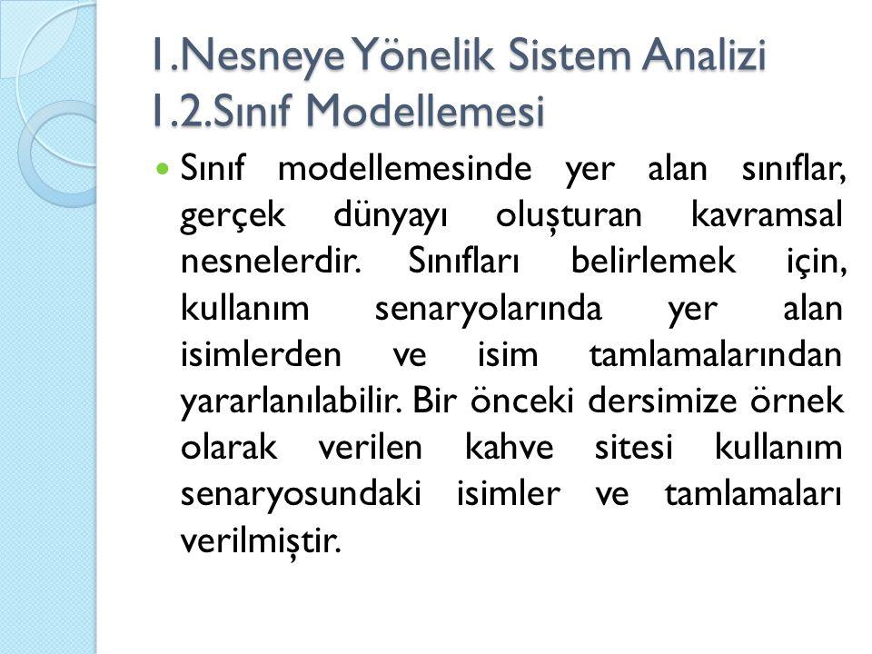 1.Nesneye Yönelik Sistem Analizi 1.2.Sınıf Modellemesi Sınıf modellemesinde yer alan sınıflar, gerçek dünyayı oluşturan kavramsal nesnelerdir.